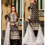 Three Star Black & White 3pc Lawn Suit d-05