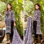 Three Star Black & White 3pc Lawn Suit d-09