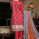 MTF Embroidered Cambric 3pc Suit d-08