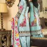 MTF Embroidered Cambric 3pc Suit d-09