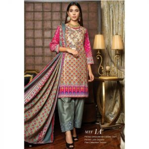 Fashion by MTF Embroidered Cambric 3pc Suit d-01