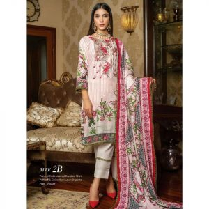 Fashion by MTF Embroidered Cambric 3pc Suit d-04