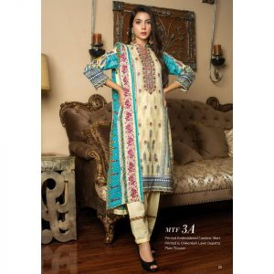 Fashion by MTF Embroidered Cambric 3pc Suit d-05