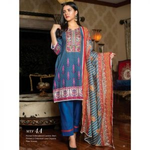 Fashion by MTF Embroidered Cambric 3pc Suit d-07