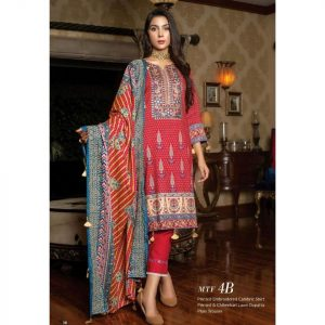 Fashion by MTF Embroidered Cambric 3pc Suit d-08