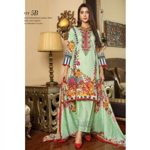 Fashion by MTF Embroidered Cambric 3pc Suit d-10