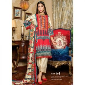 Fashion by MTF Embroidered Cambric 3pc Suit d-11