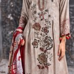 Mishal Linen Embroidered 3pc Suit d-02