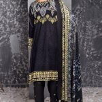 Mishal Linen Embroidered 3pc Suit d-09