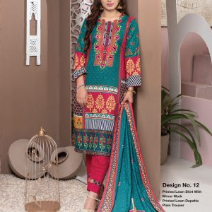Casual Cool by MTF Digital Printed Lawn with Mirror Work d-12