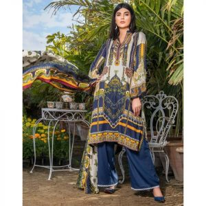 Three Star Unstitched 3pc Printed Lawn Suit S3-00B