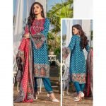 Three Star Unstitched 3pc Printed Lawn Suit S4-00A