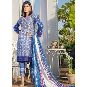 Three Star Unstitched 3pc Printed Lawn Suit S9-00A