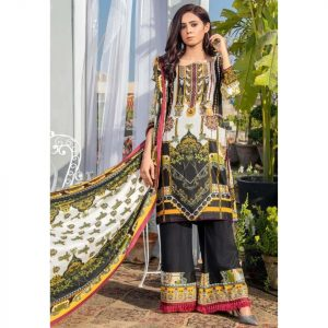 Three Star Unstitched 3pc Printed Lawn Suit S3-00A