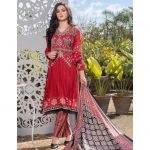 Three Star Unstitched 3pc Printed Lawn Suit S2-00A