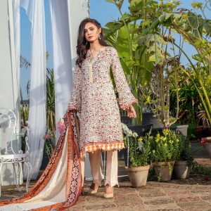 Three Star Unstitched 3pc Printed Lawn Suit S10-00A