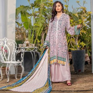 Three Star Unstitched 3pc Printed Lawn Suit S10-00B