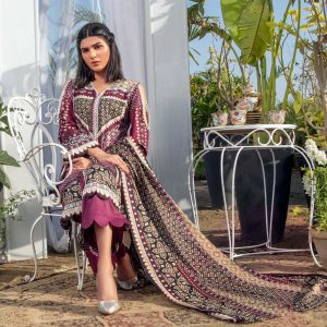 Three Star Unstitched 3pc Printed Lawn Suit S6-00A
