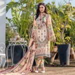 Three Star Unstitched 3pc Printed Lawn Suit S8-00A
