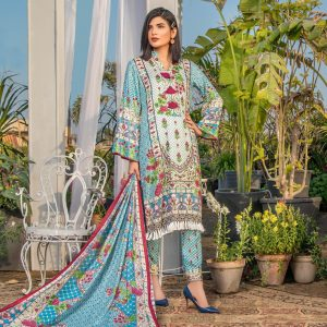 Three Star Unstitched 3pc Printed Lawn Suit S8-00B