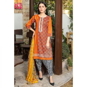 Nur Jahan Digital Embroidered Lawn Suit with Mirror Work NJL-4A