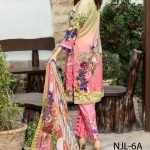 Nur Jahan Digital Embroidered Lawn Suit with Mirror Work NJL-6A