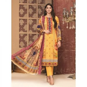 Rosette by MTF Digital Printed Lawn with Mirror Work d-02