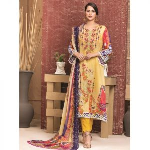 Rosette by MTF Digital Printed Lawn with Mirror Work d-09