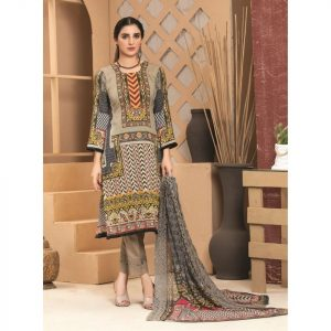 Rosette by MTF Digital Printed Lawn with Mirror Work d-10