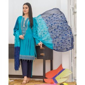 Khass by Mizaaj Unstitched 3pc Tie and Dye Embroidered Lawn Suit d-03