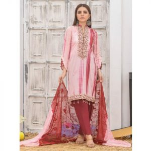 Khass by Mizaaj Unstitched 3pc Tie and Dye Embroidered Lawn Suit d-05
