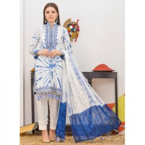 Khass by Mizaaj Unstitched 3pc Tie and Dye Embroidered Lawn Suit d-09