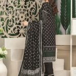 Royal Signature by MTF Black and White 3pc Printed Lawn Suit d-02