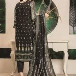 Royal Signature by MTF Black and White 3pc Printed Lawn Suit d-03