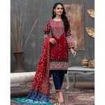 Qissa by Amna Khadija Unstitched 3pc Printed Viscose with Mirror Work Suit d-07