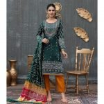 Qissa by Amna Khadija Unstitched 3pc Printed Viscose with Mirror Work Suit d-08