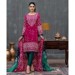 Qissa by Amna Khadija Unstitched 3pc Printed Viscose with Mirror Work Suit d-09
