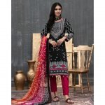 Qissa by Amna Khadija Unstitched 3pc Printed Viscose with Mirror Work Suit d-10